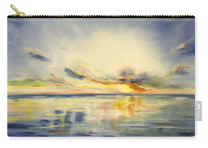 Blue Carry-all Pouch featuring the painting Blue Sunset by Gina De Gorna