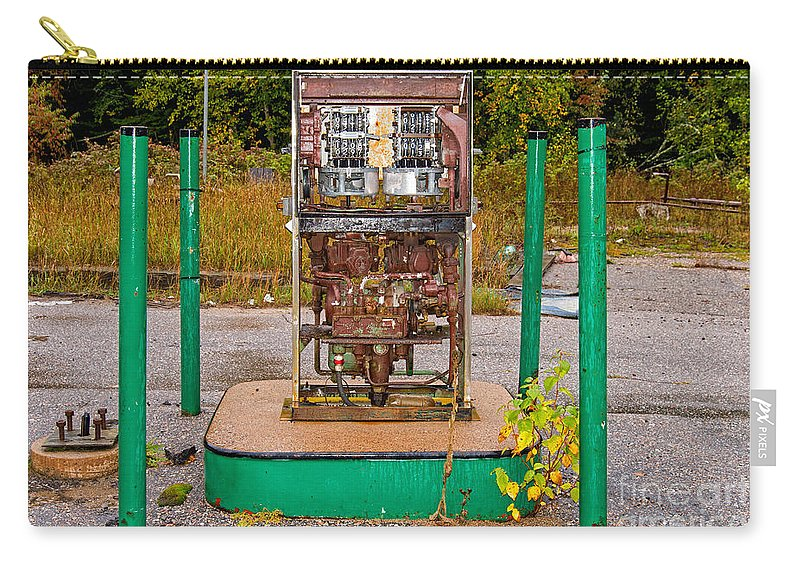 Rusty Carry-all Pouch featuring the photograph Broken And Abandoned Fuel Pump by Les Palenik