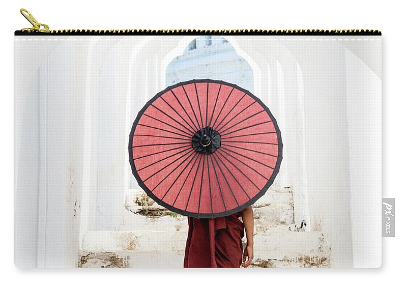 Steps Carry-all Pouch featuring the photograph Buddhist Monk Walking Along Temple by Martin Puddy