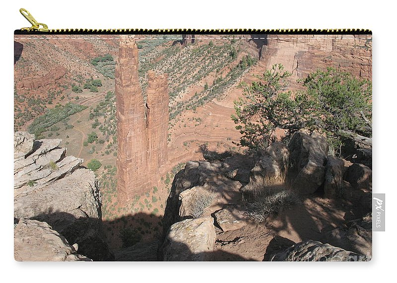 Canyon Carry-all Pouch featuring the photograph Canyon De Chelly Spider Rock by Christiane Schulze Art And Photography