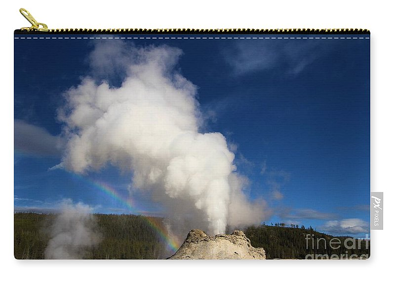 Castle Geyser Carry-all Pouch featuring the photograph Castle Rainbow by Adam Jewell
