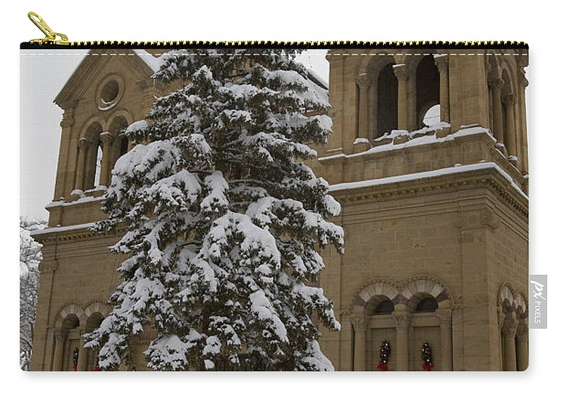 Cathedral Basilica Of St Francis Carry-all Pouch featuring the photograph Cathedral Basilica Of St Francis In Snow by Jason O Watson