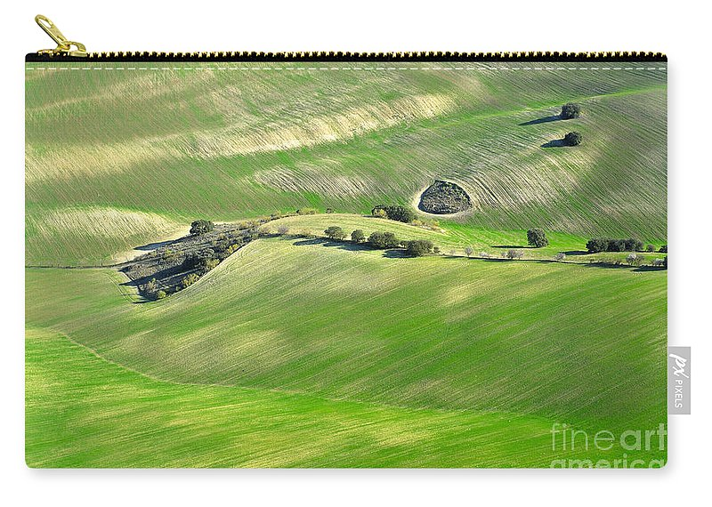 Aerial Photo Carry-all Pouch featuring the photograph Cereal Fields From The Air by Guido Montanes Castillo