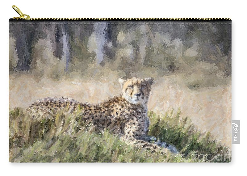 Cheetah Carry-all Pouch featuring the digital art Cheetah Acinonyx Jubatus by Liz Leyden