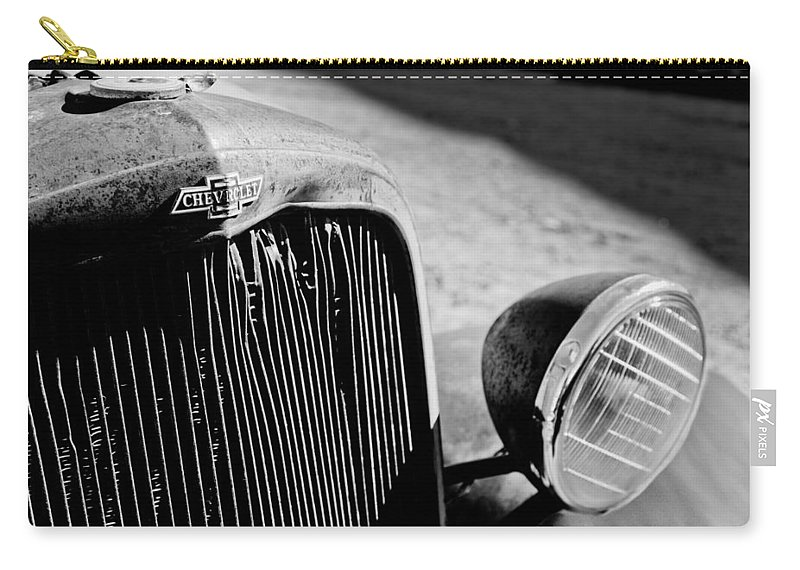 Chevrolet Grille Emblem - Head Light Carry-all Pouch featuring the photograph Chevrolet Grille Emblem - Head Light by Jill Reger