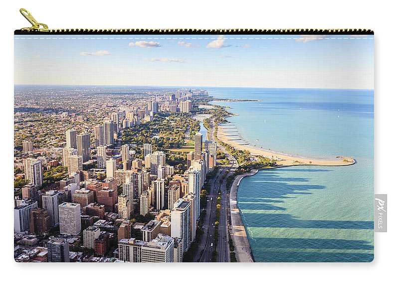 Water's Edge Carry-all Pouch featuring the photograph Chicago Lakefront Skyline by Fraser Hall
