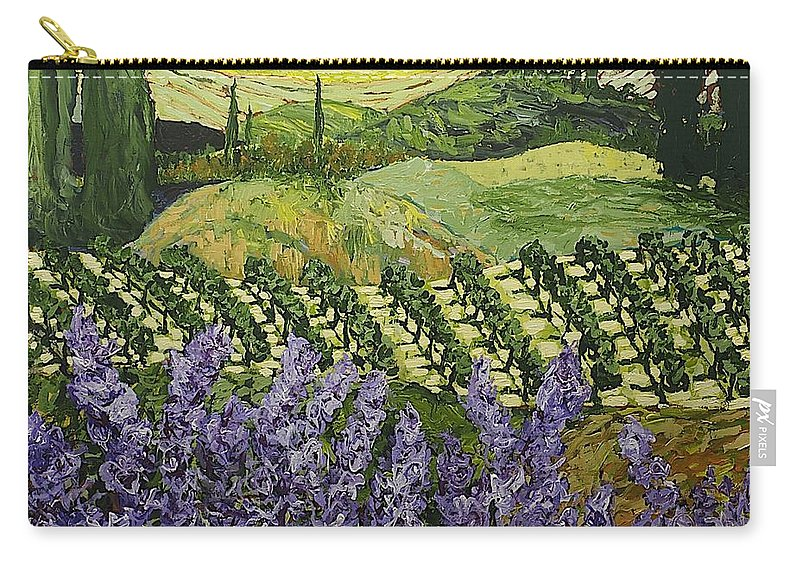 Landscape Carry-all Pouch featuring the painting Chinaberry Hill by Allan P Friedlander