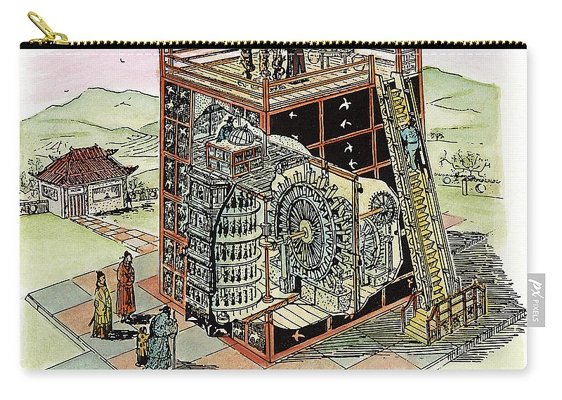 11th Century Carry-all Pouch featuring the drawing Chinese Astronomical Clocktower Built by Granger
