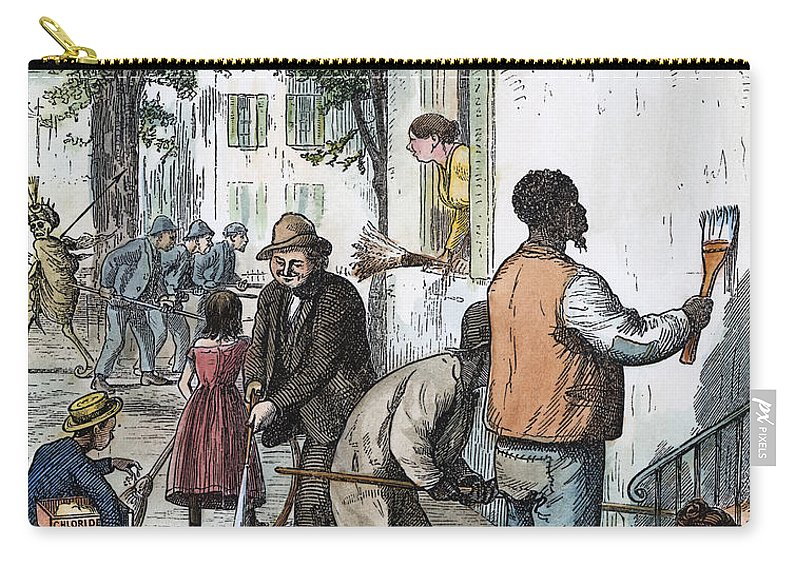 1873 Carry-all Pouch featuring the photograph Cholera Epidemic, 1873 by Granger
