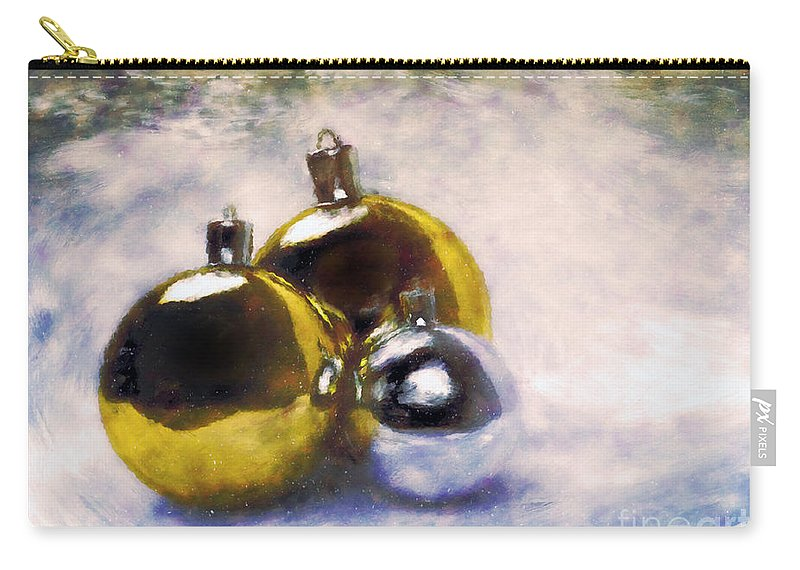 Christmas Carry-all Pouch featuring the painting Christmas Balls Artistic Vintage Painting by Michal Bednarek