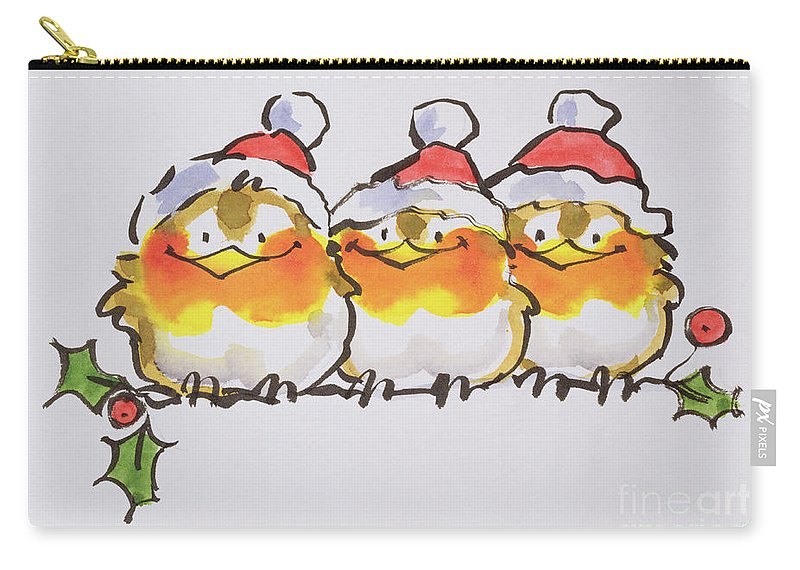 Branch Of Holly; Perched; Perching; Robin; Bird Carry-all Pouch featuring the painting Christmas Robins by Diane Matthes