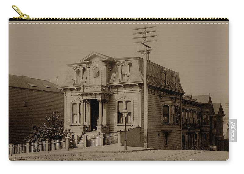 Clay Carry-all Pouch featuring the photograph Clay And Hyde Street's San Francisco Built In 1874 Burned In The 1906 Fire by California Views Archives Mr Pat Hathaway Archives