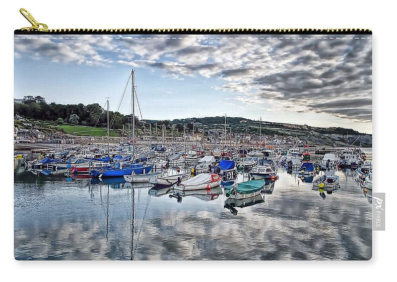Lyme-regis Carry-all Pouch featuring the photograph Cloudy Morning - Lyme Regis Harbour by Susie Peek