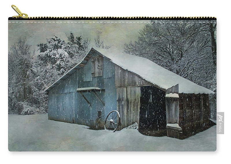 Barn Carry-all Pouch featuring the photograph Cold Day On The Farm by David and Carol Kelly