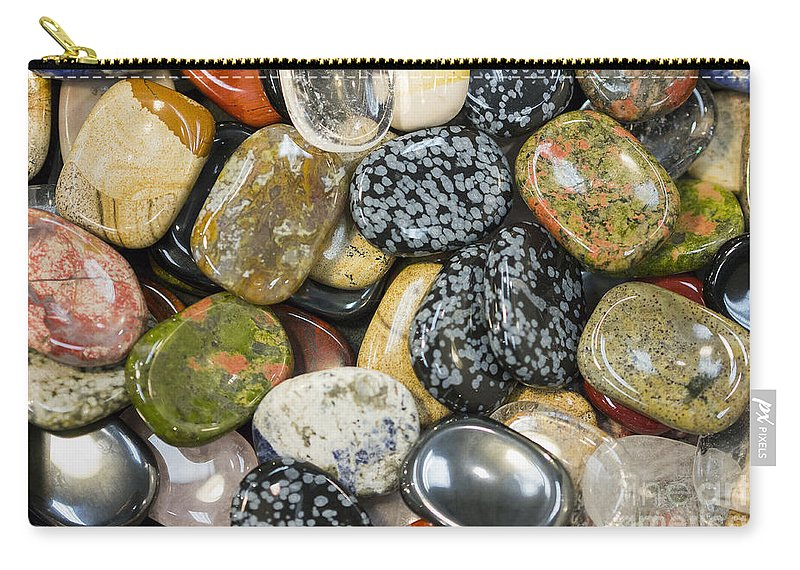 Gems Carry-all Pouch featuring the photograph Colored Polished Rocks by Steven Ralser