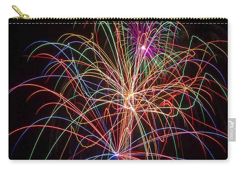 Fireworks Lights Up The Darkness Carry-all Pouch featuring the photograph Colorful Fireworks by Garry Gay