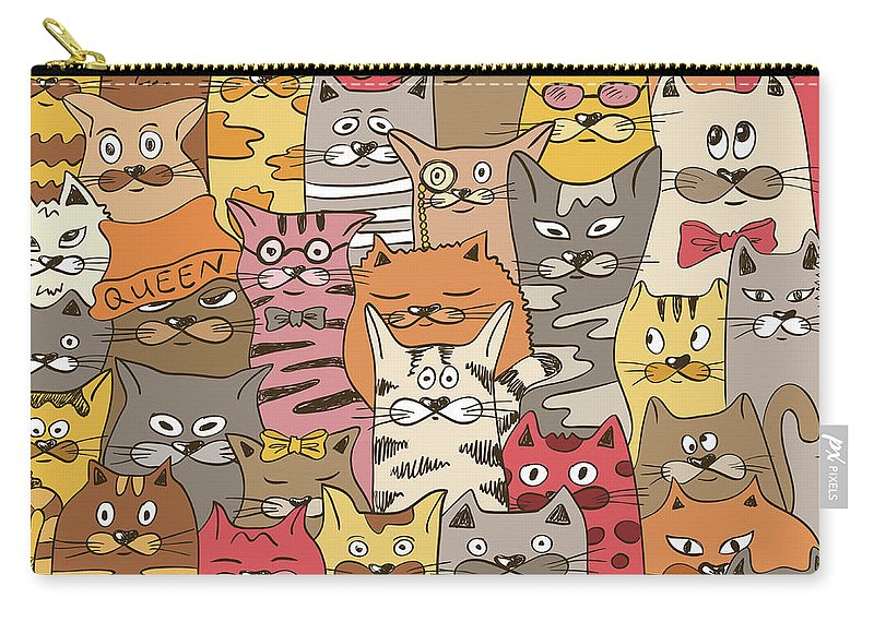 Pets Carry-all Pouch featuring the digital art Colorful Seamless Pattern With Funny by Annykos