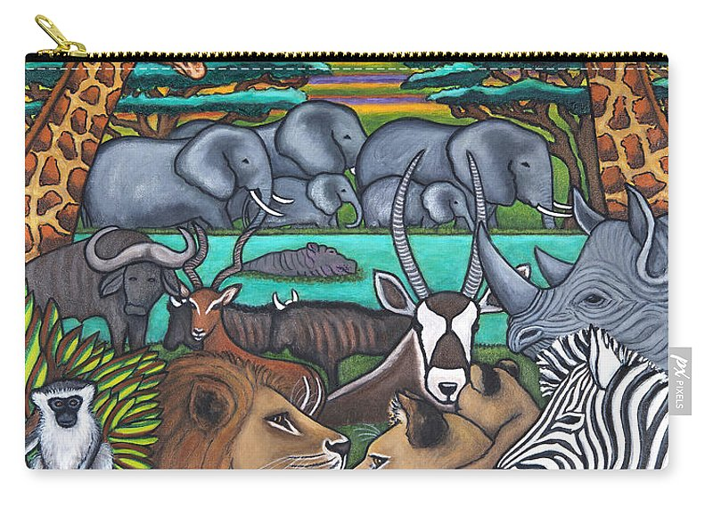Africa Carry-all Pouch featuring the painting Colours of Africa by Lisa Lorenz