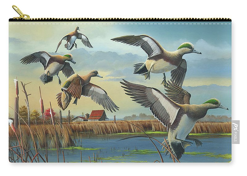 American Wigeons Carry-all Pouch featuring the painting Coming Home by Mike Brown