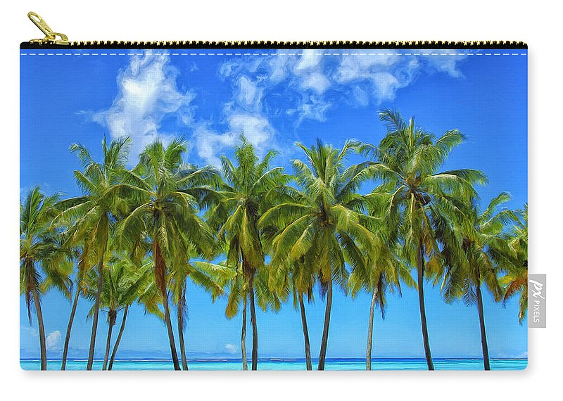 Palm Trees Carry-all Pouch featuring the painting Cool Breeze by Dominic Piperata