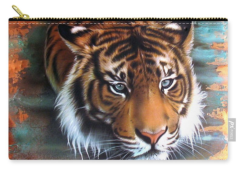 Copper Carry-all Pouch featuring the painting Copper Tiger II by Sandi Baker