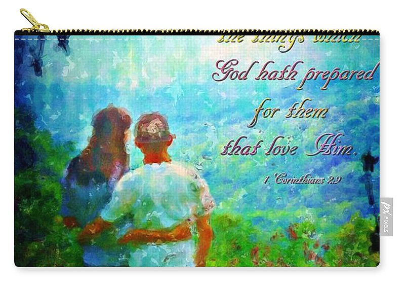 Jesus Carry-all Pouch featuring the digital art 1 Corinthians 2 9 by Michelle Greene Wheeler