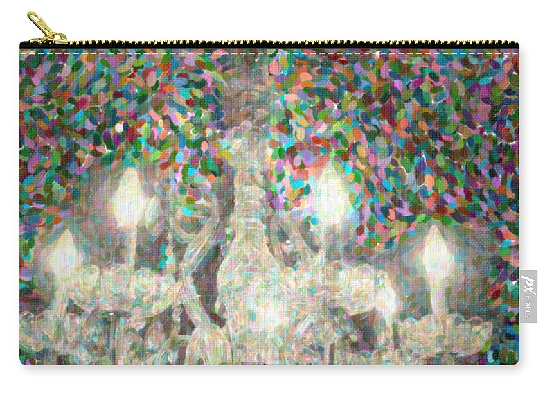 Crystal Carry-all Pouch featuring the digital art Crystal Chandelier by Dale Powell