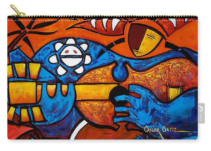 Puerto Rico Carry-all Pouch featuring the painting Cuatro En Grande by Oscar Ortiz