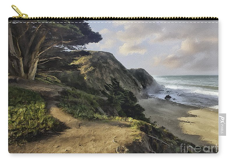 Cypress Carry-all Pouch featuring the photograph Cypress Path Impasto by Sharon Foster