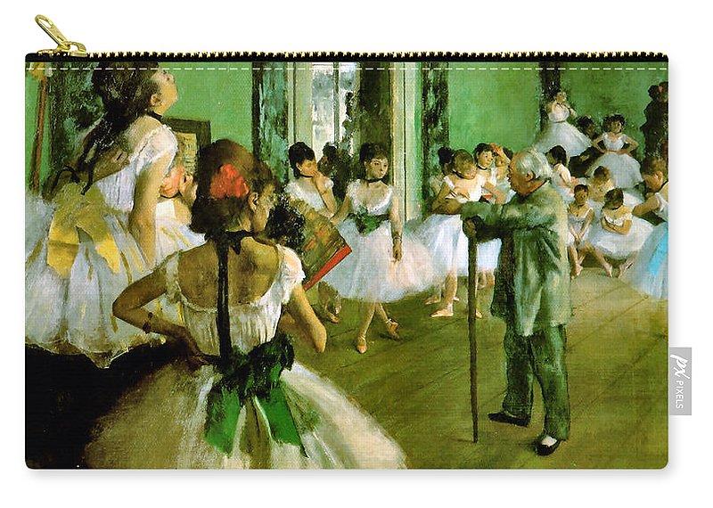 Edgar Degas Carry-all Pouch featuring the digital art Dance Class by Edgar Degas
