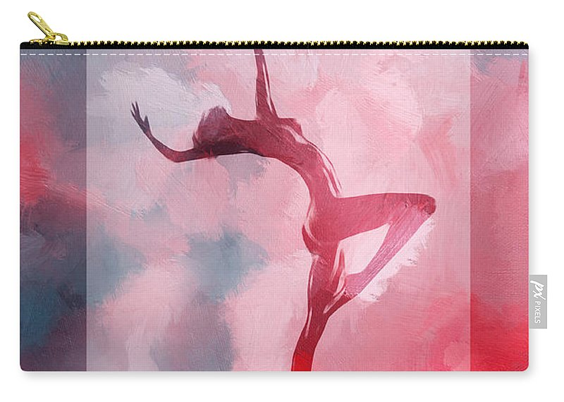 Dance Dancer Dancing Cloud Ballet Ballerina Sexy Erotic Nude Naked Clor Colorful Heaven Sky Clouds Red Expressionism Impressionism Carry-all Pouch featuring the painting Dancing In The Clouds by Steve K