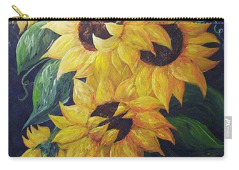 Sunflower Carry-all Pouch featuring the painting Dancing Sunflowers by Eloise Schneider