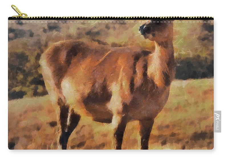 Animal Carry-all Pouch featuring the painting Deer On Mountain by Pixel Chimp