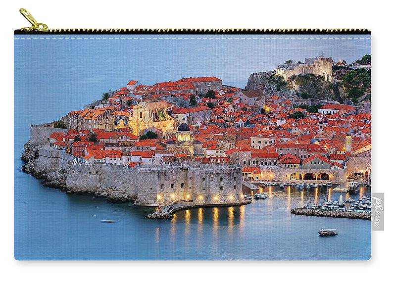 Scenics Carry-all Pouch featuring the photograph Dubrovnik City Skyline At Dawn by Pixelchrome Inc