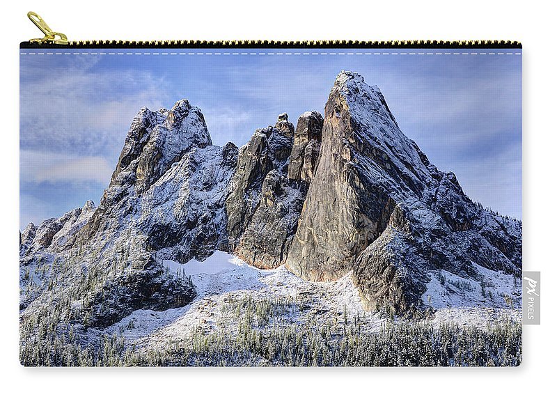 Tranquility Carry-all Pouch featuring the photograph Early Winter Spires by Virtualphotographers