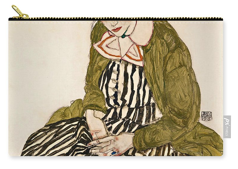 Egon Schiele Carry-all Pouch featuring the drawing Edith With Striped Dress Sitting by Egon Schiele