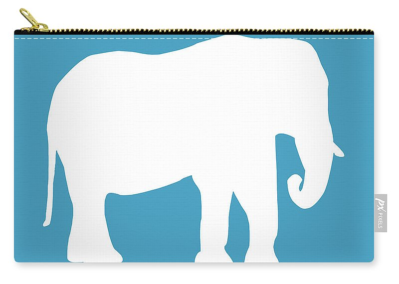 Graphic Art Carry-all Pouch featuring the digital art Elephant In White And Turquoise by Jackie Farnsworth