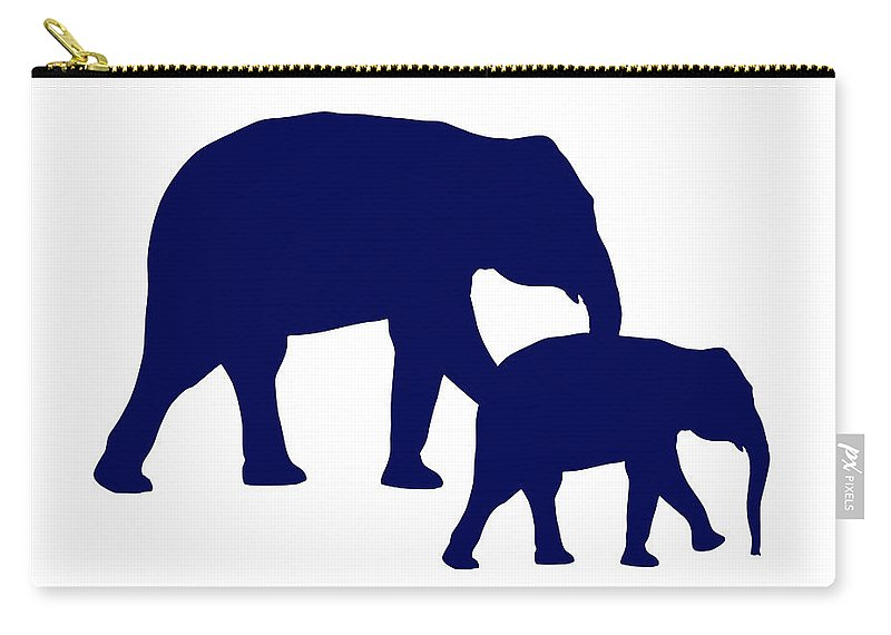 Graphic Art Carry-all Pouch featuring the digital art Elephants In Navy And White by Jackie Farnsworth
