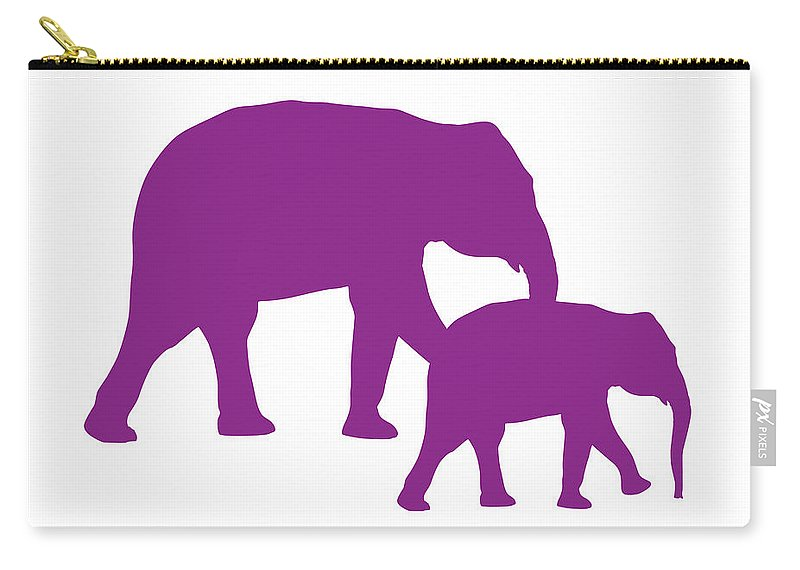 Graphic Art Carry-all Pouch featuring the digital art Elephants In Purple And White by Jackie Farnsworth