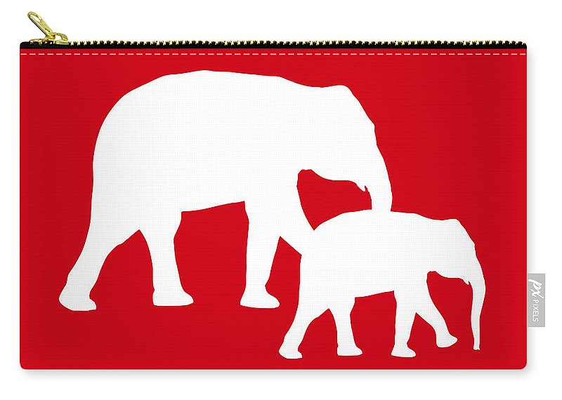 Graphic Art Carry-all Pouch featuring the digital art Elephants In Red And White by Jackie Farnsworth