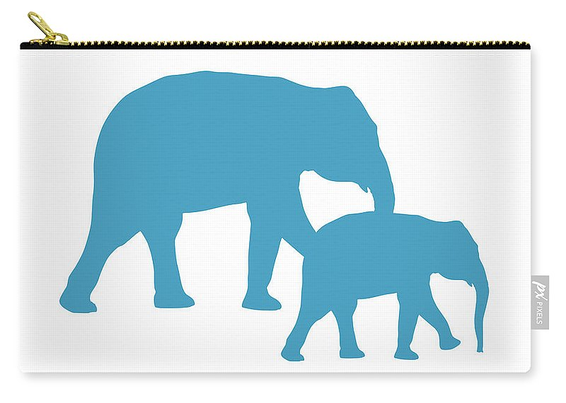 Graphic Art Carry-all Pouch featuring the digital art Elephants In White And Turquoise by Jackie Farnsworth