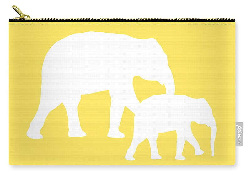 Graphic Art Carry-all Pouch featuring the digital art Elephants In Yellow And White by Jackie Farnsworth