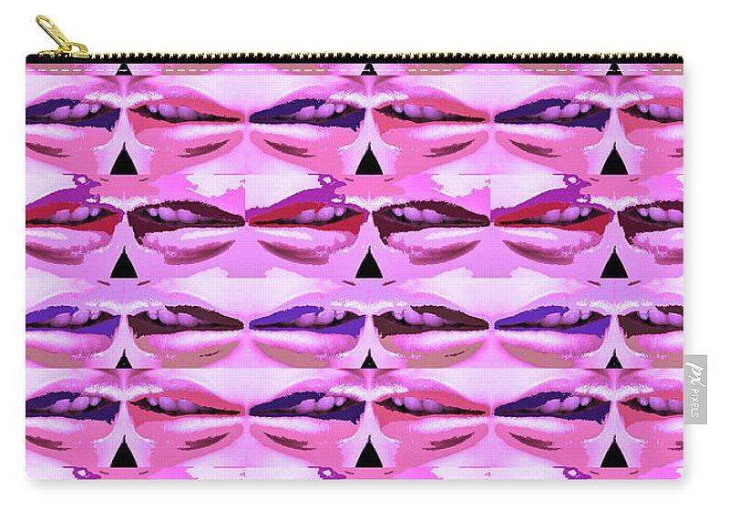Sensual Carry-all Pouch featuring the mixed media Enjoy Bliss Of Artistic Sensual Aura Lips Kiss Romance Pattern Digital Graphic Signature  Art Nav by Navin Joshi