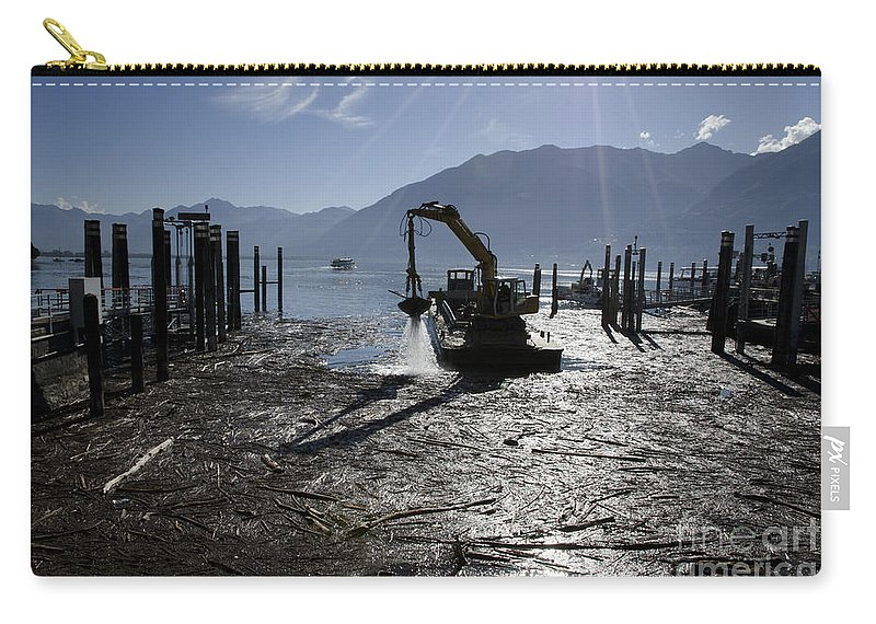 Excavator Carry-all Pouch featuring the photograph Excavator Clean A Harbor by Mats Silvan