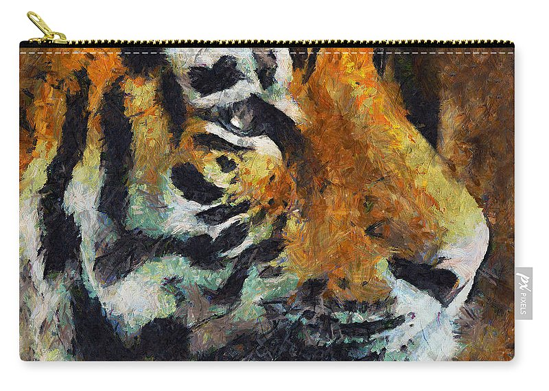 Impressionism Carry-all Pouch featuring the mixed media Eye Of The Tiger by Georgiana Romanovna