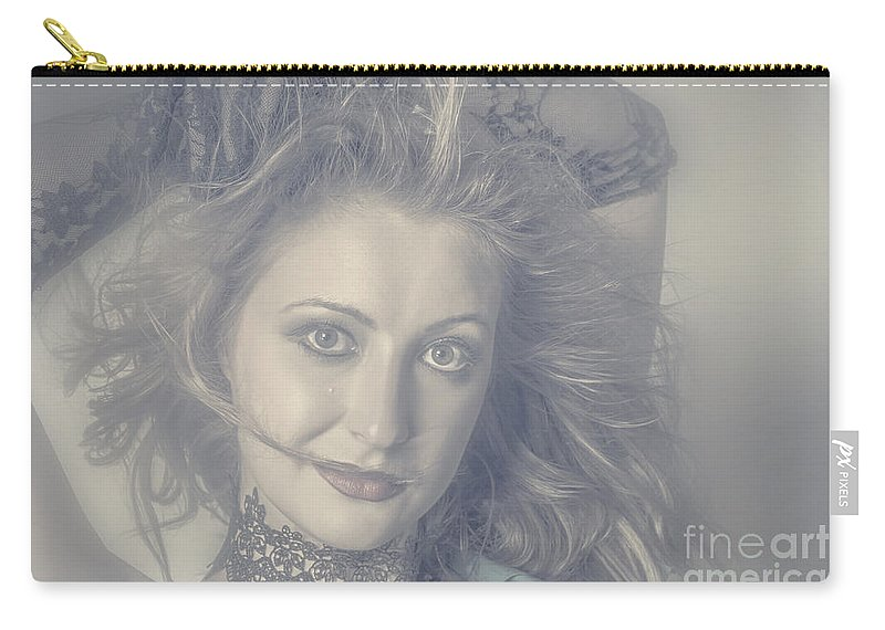 Beautiful Carry-all Pouch featuring the photograph Face Of Beautiful Woman In Makeup Close-up by Jorgo Photography - Wall Art Gallery