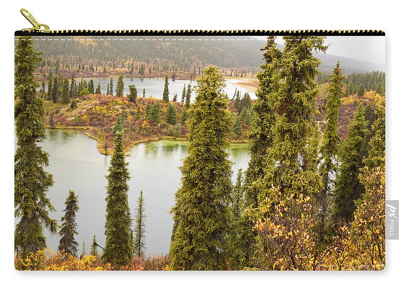 Autumn Carry-all Pouch featuring the photograph Fall Rain On Wilderness Lake Yukon T Canada by Stephan Pietzko