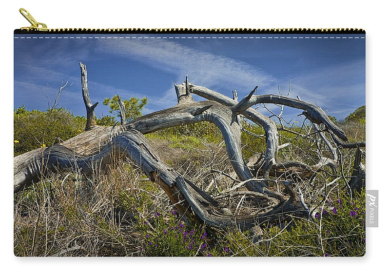 Art Carry-all Pouch featuring the photograph Fallen Dead Torrey Pine Trunk At Torrey Pines State Natural Reserve by Randall Nyhof