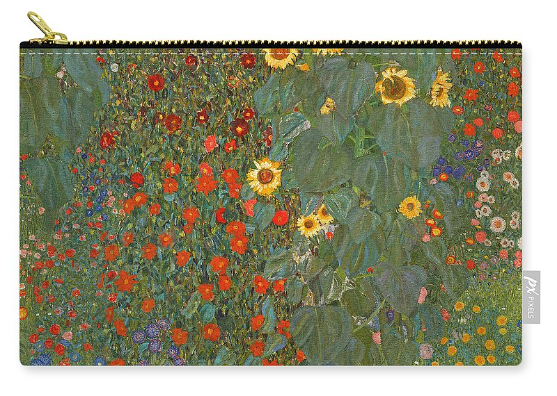Klimt Carry-all Pouch featuring the painting Farm Garden With Sunflowers by Gustav Klimt