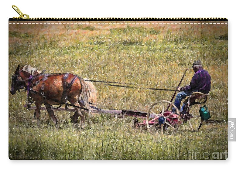 Farm Carry-all Pouch featuring the photograph Farming With Horses by Janice Pariza